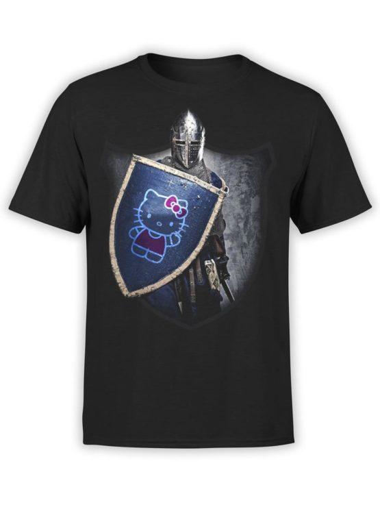 0029 Cat Shirts Knight Kitty Front Black