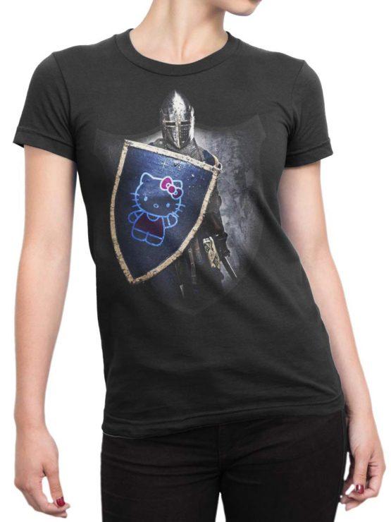 0029 Cat Shirts Knight Kitty Front Woman