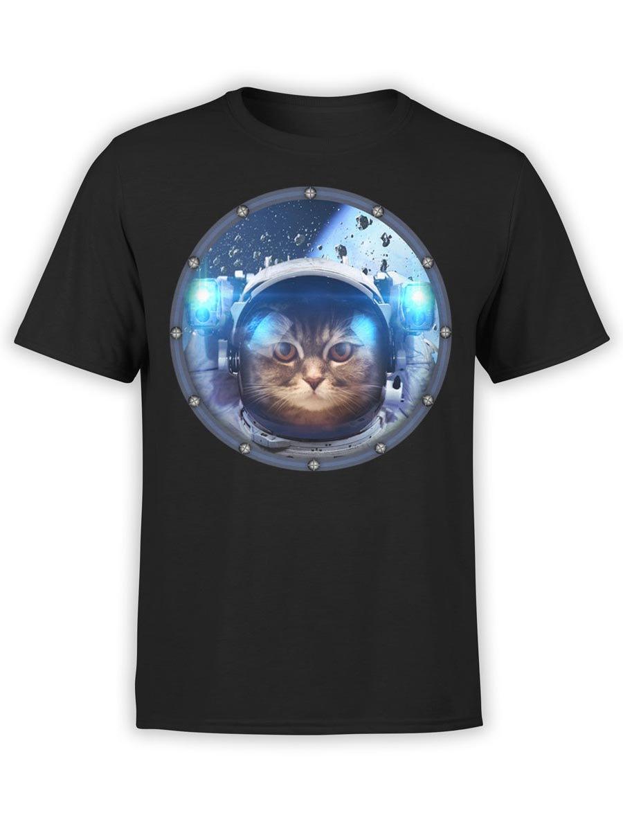 0030 Cat Shirts Space Cat Front Black
