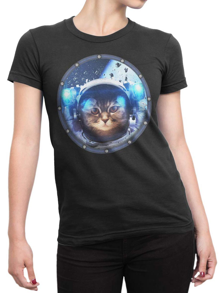 0030 Cat Shirts Space Cat Front Woman