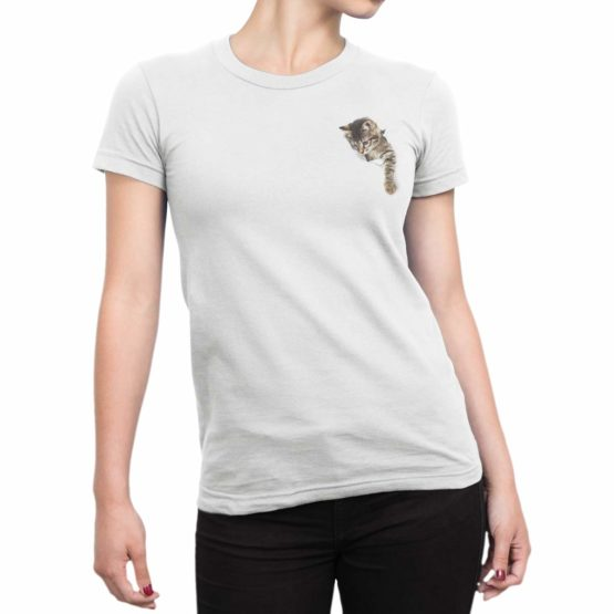 0042 Cat Shirts Paper Hole Front Woman