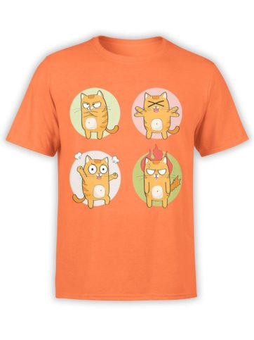 0188 Cat Shirts Emotional Front Orange