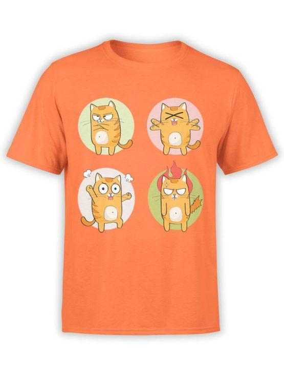 0188 Cat Shirts Emotional Front Orange