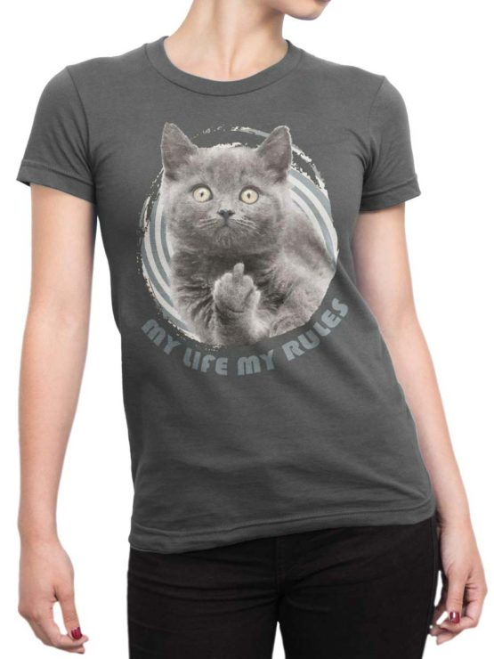 0211 Cat Shirts My Rules Front Woman