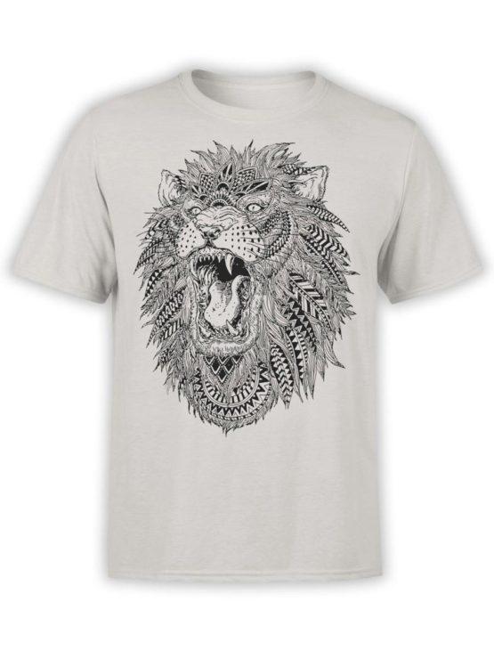 0213 Lion T Shirt Roach Front Silver