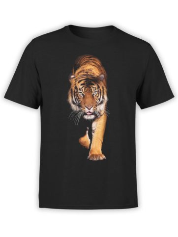 0258 Tiger T Shirt Walk Front Black