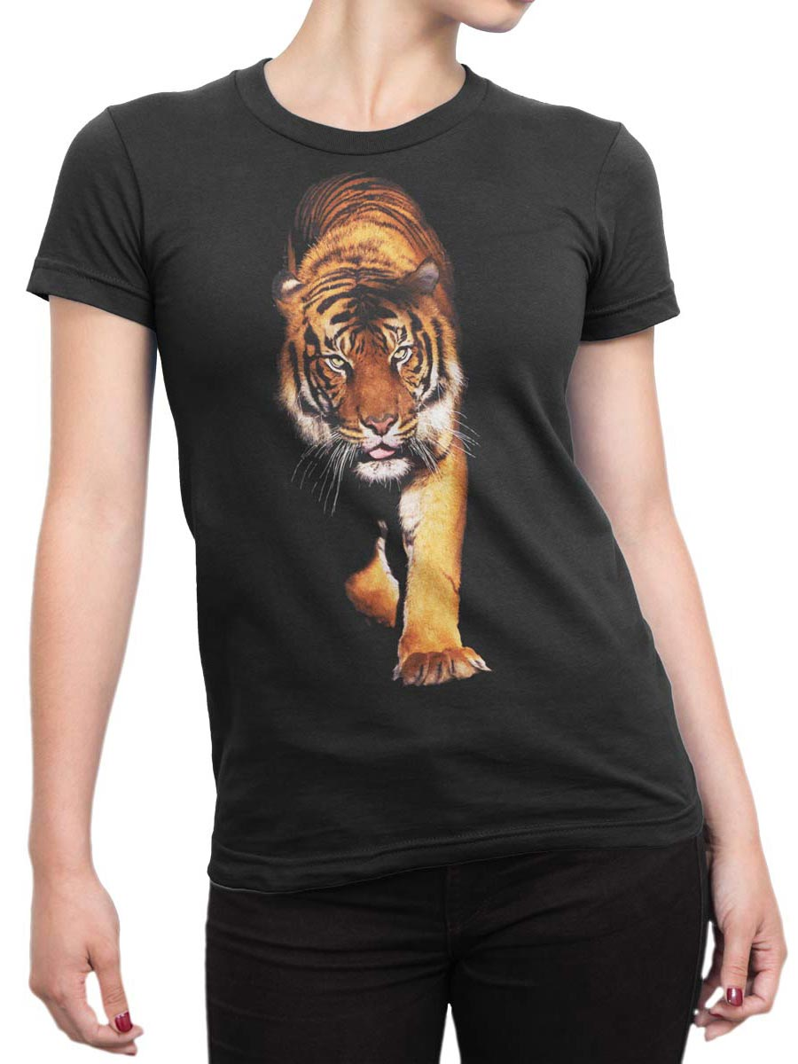 0258 Tiger T Shirt Walk Front Woman