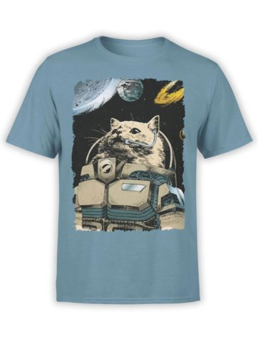 0305 Cat Shirts Cosmocat Front Steel Blue