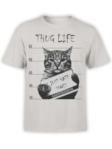 0369 Cat Shirts Thug Life Front Silver