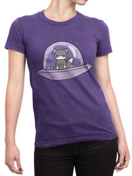 0387 Cat Shirts UFO Front Woman