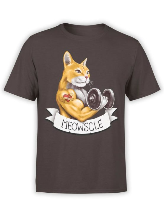 0447 Cat Shirts Meowscle Front Chocolate