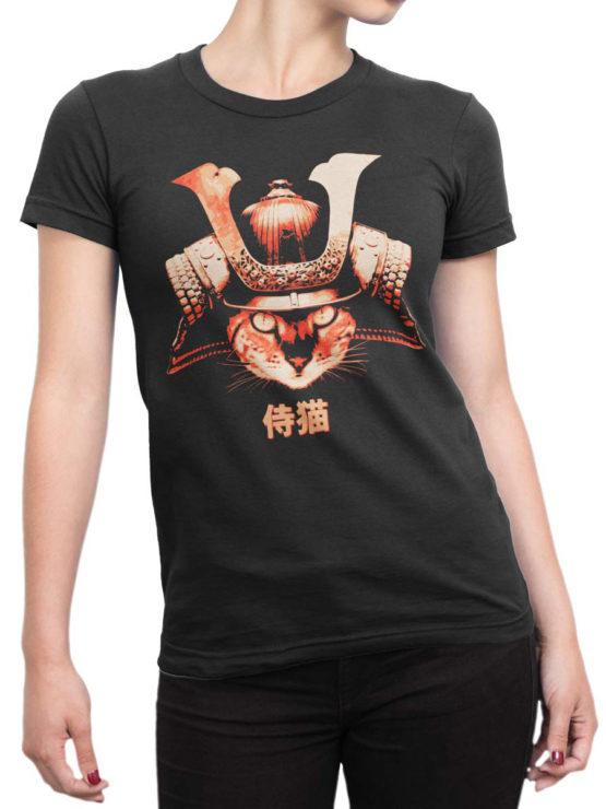 0739 Cat Shirts Samurai Front Woman