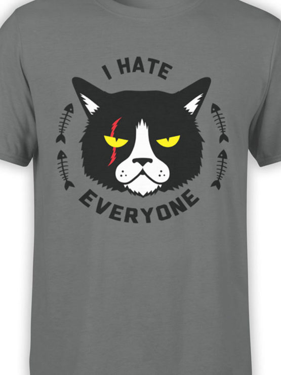 0925 Cat Shirts I hate everyone Front Color