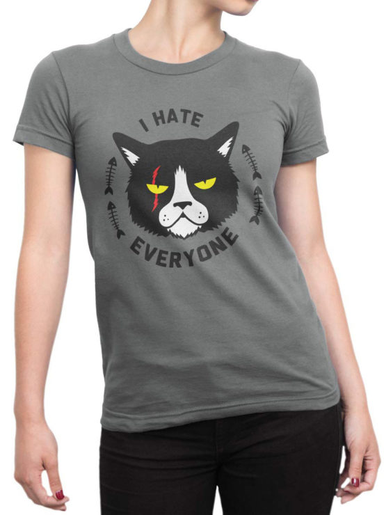 0925 Cat Shirts I hate everyone Front Woman