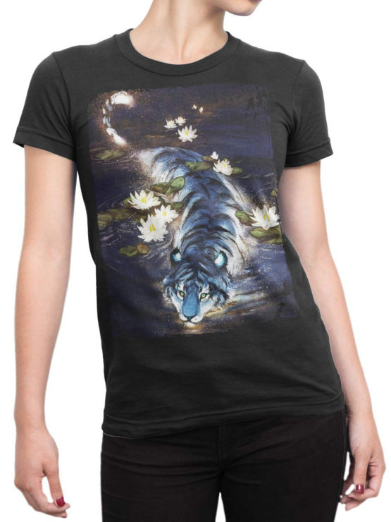 0943 Cool T Shirt Tiger Front Woman